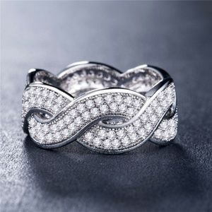 Infinity 925 Silver Round Cut White Sapphire Ring